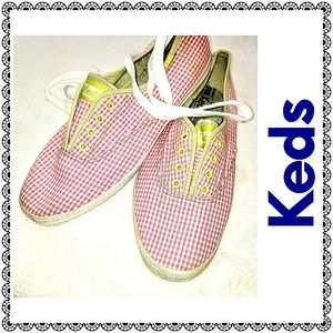 {Keds} pink check sneakers w/ green pops, sz 8.5